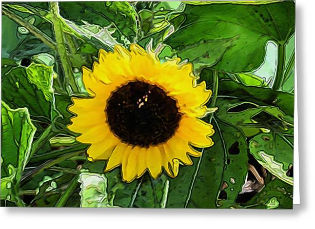 Cultivation Paintings Greeting Cards - Beautiful yellow sunflower Greeting Card by Lanjee Chee