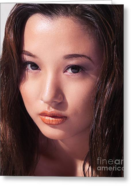 Young Adult Women Greeting Cards - Beautiful young asian woman face Greeting Card by Oleksiy Maksymenko