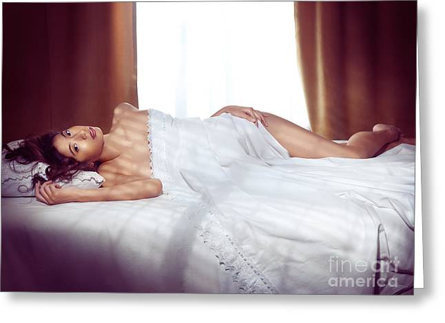 Full Body Greeting Cards - Beautiful young asian woman lting naked in bed covered with whit Greeting Card by Oleksiy Maksymenko