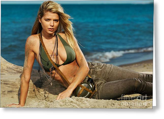 Beach Wear Greeting Cards - Beautiful young blond woman on the beach Greeting Card by Oleksiy Maksymenko