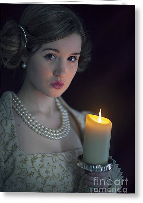 Gold Earrings Greeting Cards - Beautiful Young Medieval Woman With Candle Greeting Card by Lee Avison