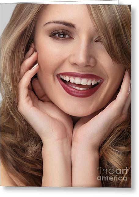 Beautiful Young Smiling Woman Face Greeting Card by Oleksiy Maksymenko