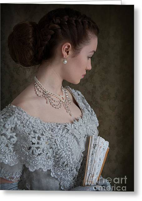 Glittery Jewelry Greeting Cards - Beautiful Young Victorian Woman Greeting Card by Lee Avison