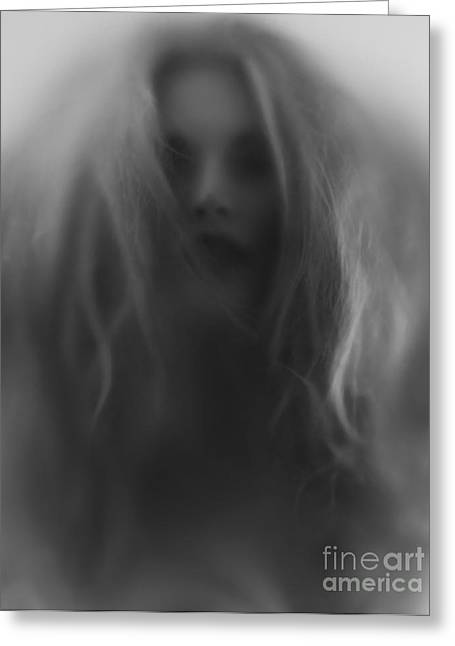 Blured Greeting Cards - Beautiful young woman face behind hazy glass Greeting Card by Oleksiy Maksymenko