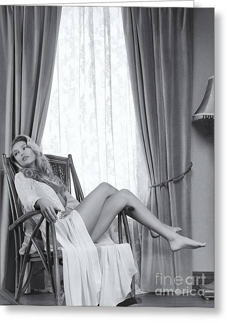 Full Body Greeting Cards - Beautiful young woman in a rocking chair Black and white Greeting Card by Oleksiy Maksymenko