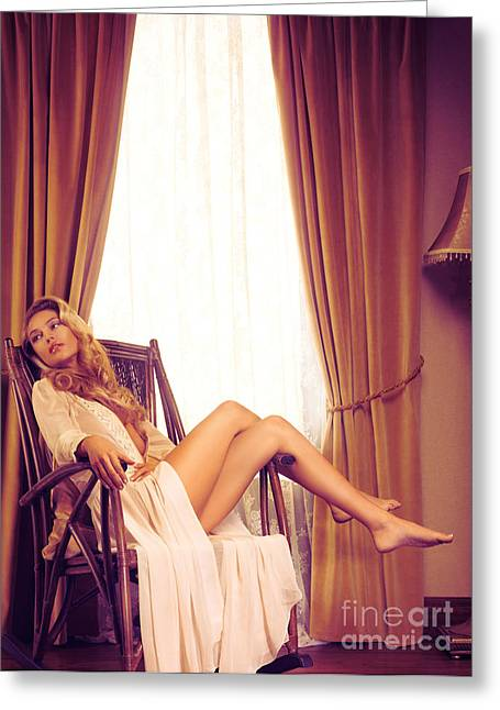 Full Body Greeting Cards - Beautiful young woman in a rocking chair by the window Greeting Card by Oleksiy Maksymenko