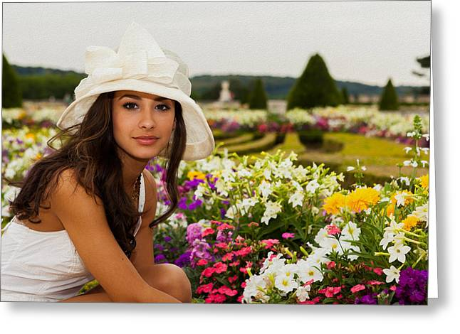 Olive Skin Greeting Cards - Beautiful Young Woman in Paris Greeting Card by Raul Rodriguez