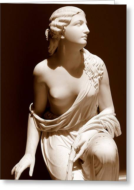 Nude Woman Torso Sculpture Greeting Cards - Beautiful Young Woman Sepia Greeting Card by Jeff Lowe