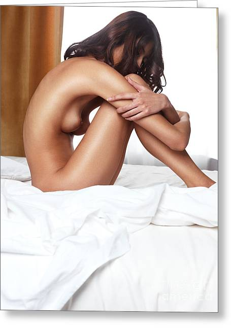 Chinese Woman Greeting Cards - Beautiful young woman sitting naked on a bed Greeting Card by Oleksiy Maksymenko