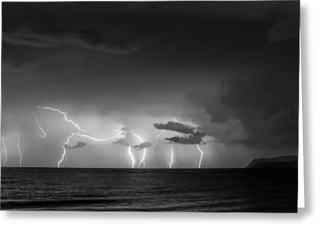 Thunderstorm Pyrography Greeting Cards - Beautifull only from a distance Greeting Card by Androklis Nerantzoulis