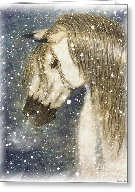 Blank Greeting Cards Mixed Media Greeting Cards - Beauty and Strength Cold Day Warm Breath Greeting Card by Debbie Portwood