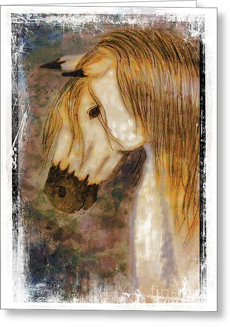 Blank Greeting Cards Mixed Media Greeting Cards - Beauty and Strength Golden Mane I Greeting Card by Debbie Portwood