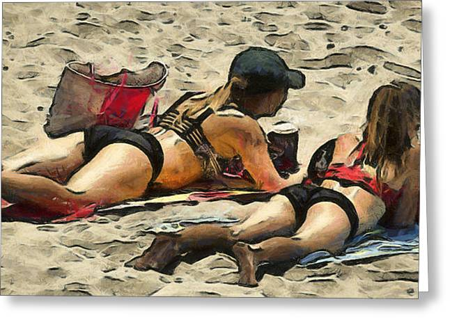 Suntanning Greeting Cards - Beauty And The Beach Digital Greeting Card by Floyd Snyder