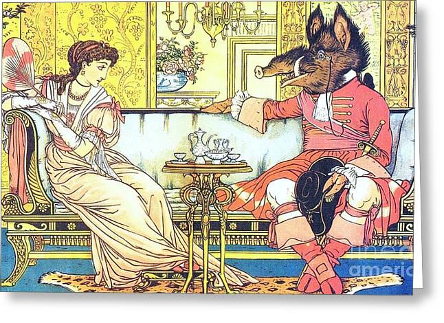 Fabled Drawings Greeting Cards - Beauty and the Beast Greeting Card by Pg Reproductions
