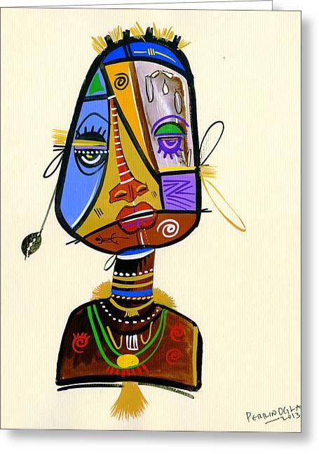 Uganda Greeting Cards - Beauty Beneath 2, 2013 Mixed Media On Paper Greeting Card by Oglafa Ebitari Perrin