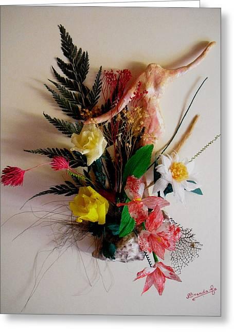 Handmade Reliefs Greeting Cards - Beauty in its surrounding Greeting Card by Brenda Almeida-Schwaar