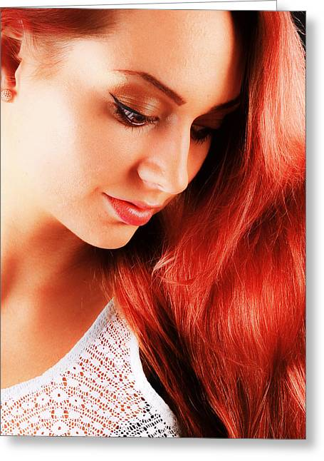 Beauty In Red Hair Greeting Card by T Monticello