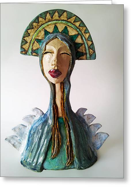 Sculpture. Ceramics Greeting Cards - Beauty of a Mother Greeting Card by Agnieszka Parys-Kozak