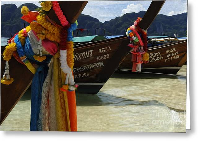 Ocean Scenes Greeting Cards - Beauty Of Boats Thailand 3 Greeting Card by Bob Christopher