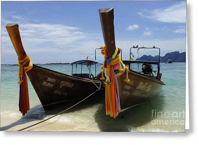 Ocean Scenes Greeting Cards - Beauty Of Boats Thailand 4 Greeting Card by Bob Christopher