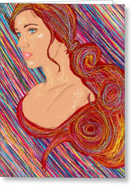 Kenal Louis Paintings Greeting Cards - Beauty Of Hair Abstract Greeting Card by Kenal Louis