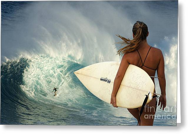 On The Beach Greeting Cards - Surfer Girl Meets Jaws Greeting Card by Bob Christopher