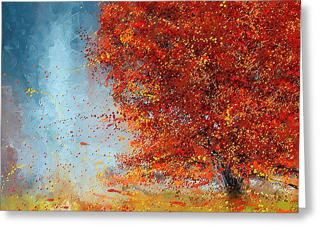 Autumn Landscape Paintings Greeting Cards - Beauty Of It- Autumn Impressionism Greeting Card by Lourry Legarde