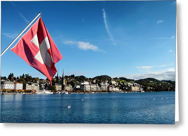 Swiss Flag Greeting Cards - Beauty of Lucerne Greeting Card by Mountain Dreams