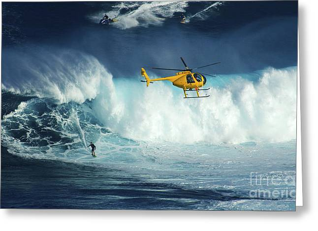Recently Sold -  - Ocean Photography Greeting Cards - Beauty Of Surfing Jaws Maui 4 Greeting Card by Bob Christopher