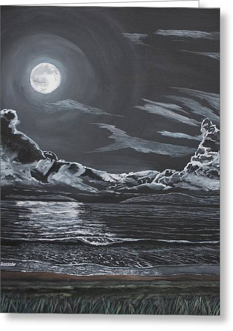 Sea Moon Full Moon Greeting Cards - Beauty of the Night Greeting Card by Ian Donley