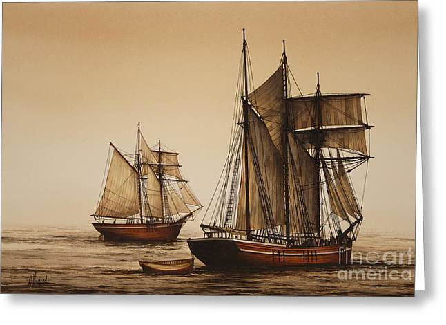 Wooden Ship Paintings Greeting Cards - Beauty of Wooden Ships Greeting Card by James Williamson