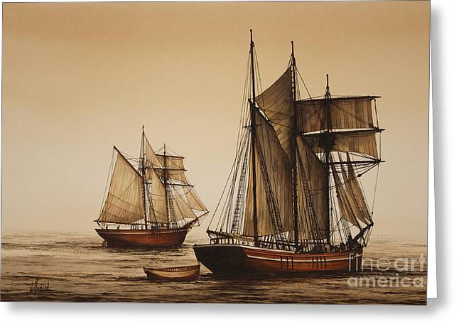 Historic England Paintings Greeting Cards - Beauty of Wooden Ships Greeting Card by James Williamson