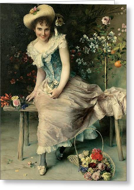 Lace Dress Greeting Cards - Beauty on a garden bench Greeting Card by Francesco Vinea