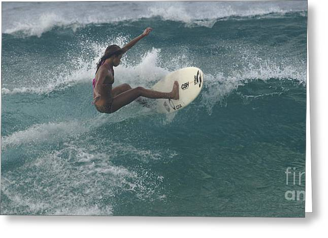 Adrenalin Greeting Cards - Beauty On A Surf Board Greeting Card by Bob Christopher