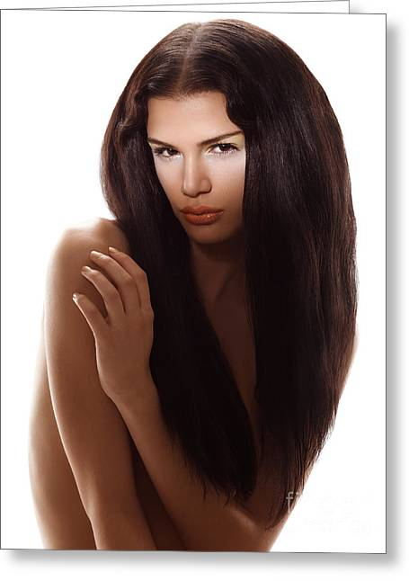 Beauty Portrait Of A Woman With Long Brown Hair Greeting Card by Oleksiy Maksymenko