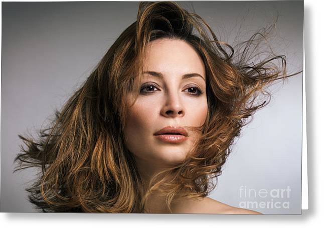 Gray Hair Greeting Cards - Beauty portrait of woman with flying hair Greeting Card by Oleksiy Maksymenko