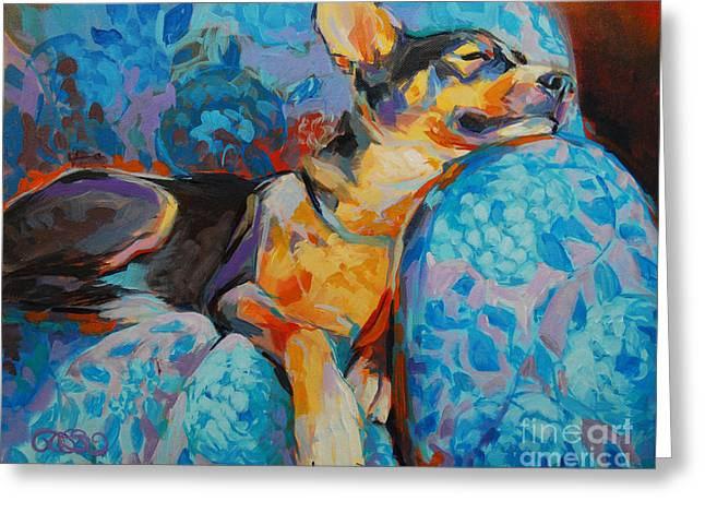 Mixed Breed Greeting Cards - Beauty Rest Greeting Card by Kimberly Santini