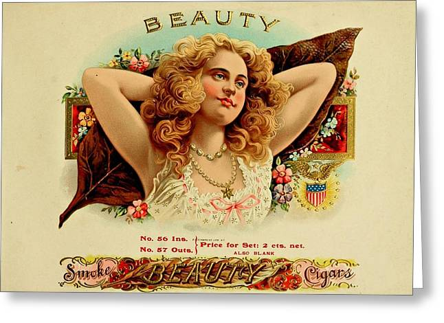 Cigar Drawings Greeting Cards - Beauty Vintage Cigar Advertisement  Greeting Card by Movie Poster Prints