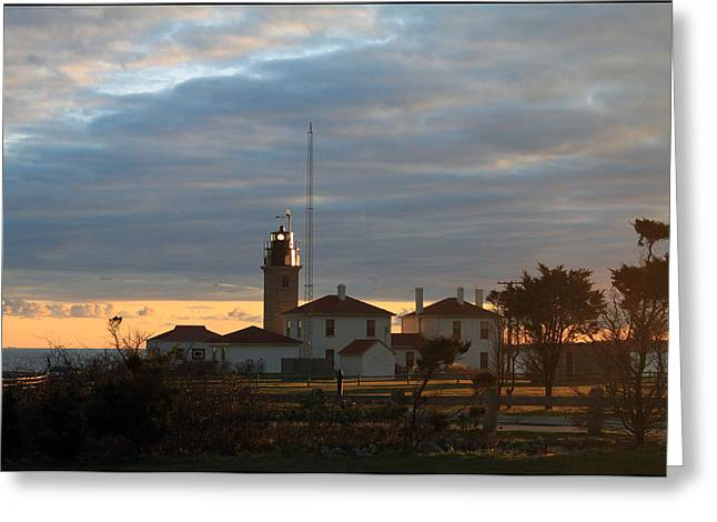 Seacape Greeting Cards - Beavertail Light at Dusk Greeting Card by Peter Vogt