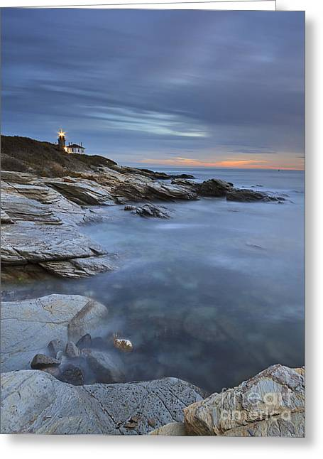 Beavertail Lighthouse Seascape Greeting Card by Katherine Gendreau