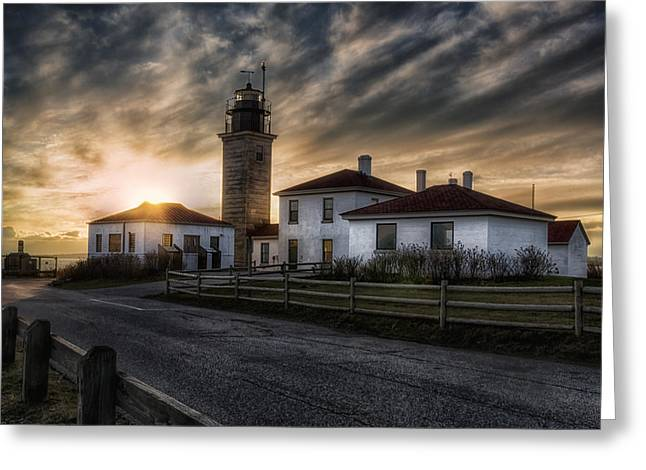 White Greeting Cards - Beavertail Lighthouse Sunset Greeting Card by Joan Carroll
