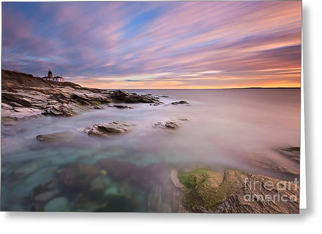 Beavertail Lighthouse Sunset Greeting Card by Katherine Gendreau
