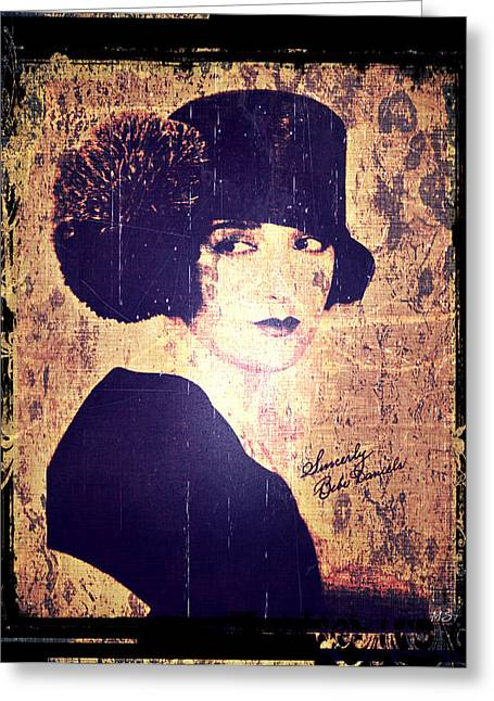 Autographed Photographs Greeting Cards - Bebe Daniels - 1920s Actress Greeting Card by Absinthe Art By Michelle LeAnn Scott