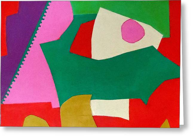 Red Green And Gold Abstracts Greeting Cards - Bebop Greeting Card by Diane Fine