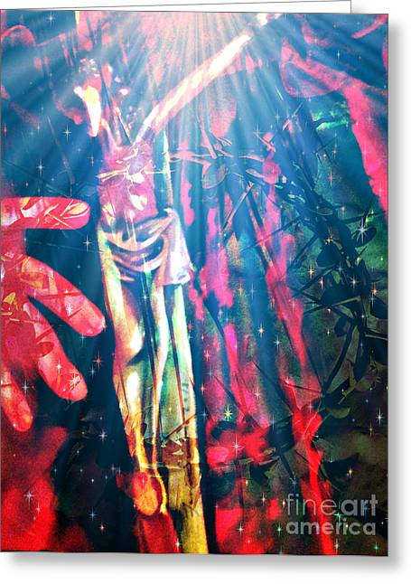 Trial Mixed Media Greeting Cards - Because He Lives Greeting Card by Fania Simon
