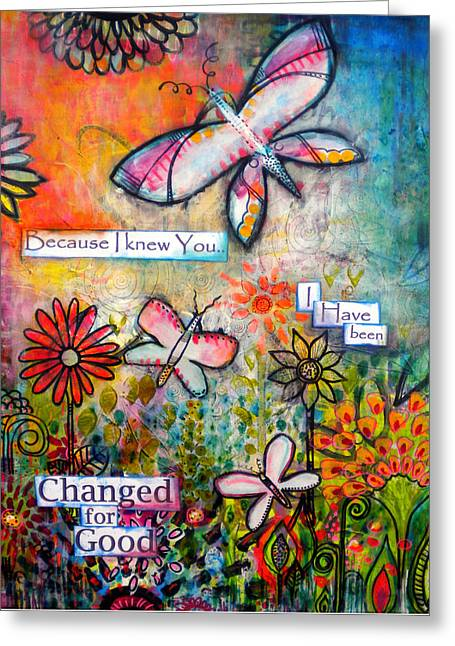 Butterflies Paintings Greeting Cards - Because I knew You Greeting Card by Robin Mead