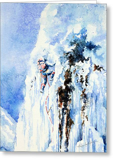 Winter Sports Art Prints Greeting Cards - Because Its There Greeting Card by Hanne Lore Koehler