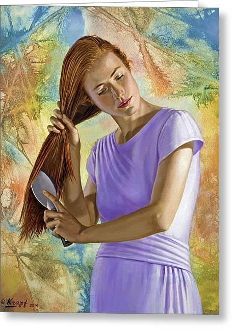 Becca Brushing Her Hair Greeting Card by Paul Krapf