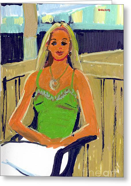 Straps Paintings Greeting Cards - Becca Greeting Card by Candace Lovely