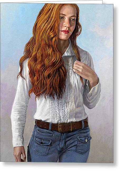 Red Hair Greeting Cards - Becca in Blouse and Jeans Greeting Card by Paul Krapf